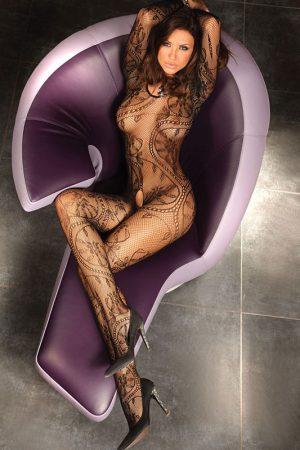 Catsuit Abra mit orientalischen Muster schwarz von LivCo Corsett