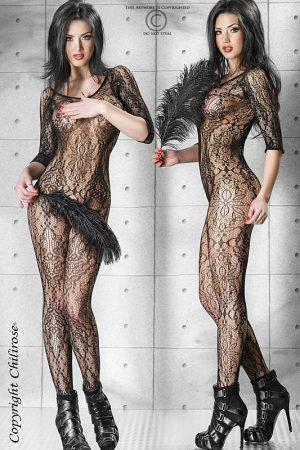Sexy Bodystocking mit floralem Muster in schwarz von Chilirose