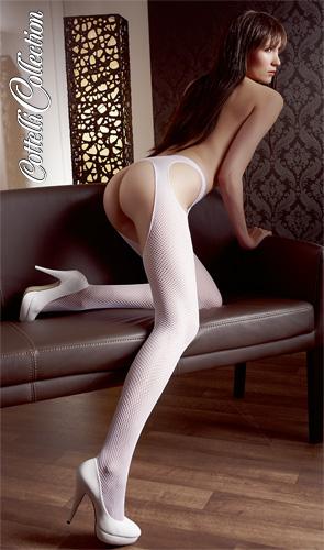 Sex-Strumpfhose aus feinem Netzmaterial in weiß von Cottelli