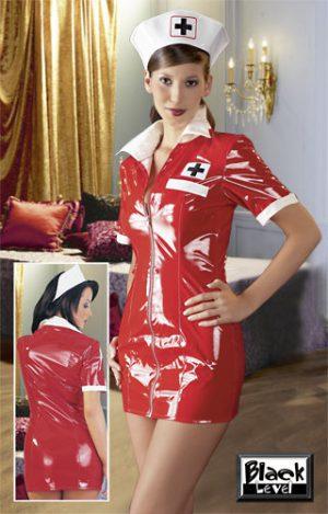 Lack-Minikleid Krankenschwester in rot von Black Level