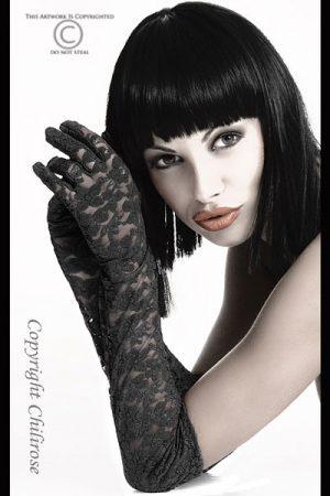 Spitzenhandschuhe Gloria von Chilirose in schwarz