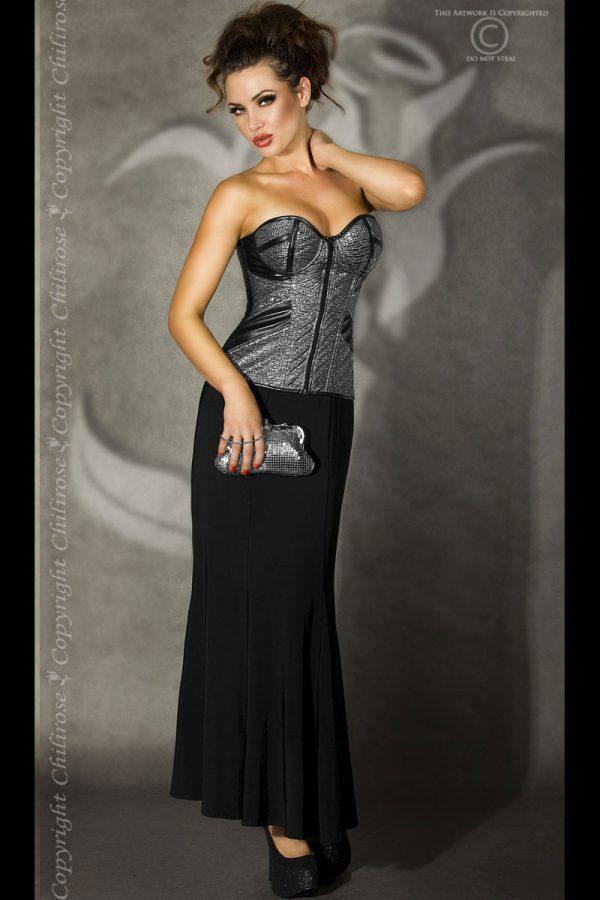 Elegante Corsage von Chilirose in schwarz/silber-2201